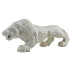 Charles LEMANCEAU French Art Deco Crackle Glaze Ceramic Lion, Ca.1925