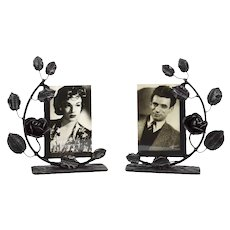 French Art Deco Pair of Wrought-iron Photo Frames 1930