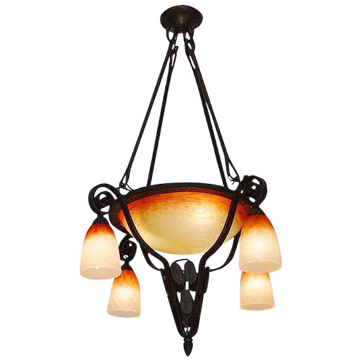 Charles schneider french art deco chandelier 1925 art deco ceramic charles schneider french art deco chandelier 1925 aloadofball