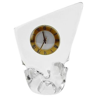 SCHNEIDER Mid-century Crystal Table Clock, 1950s