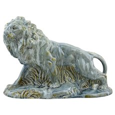 Moulin-des-Loups, Orchies, French Art Deco Ceramic Lion, 1930s