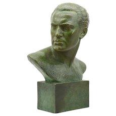 Lucien GIBERT French Art Deco Man Bust Terracotta, 1930s
