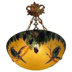 Leune French Art Deco Enameled Bird Pendant Chandelier, 1920s