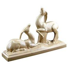 Charles LEMANCEAU French Art Deco Crackle Glaze Ceramic Couple of Antelopes 1935
