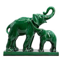 Charles LEMANCEAU French Art Deco Ceramic Mother & Baby Elephants, 1930s