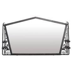 French Art Deco Ginkgo Biloba Wall Mirror, ca. 1925