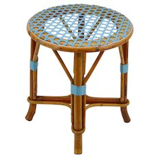 French Rattan & Bamboo Stool, Early 20th Century