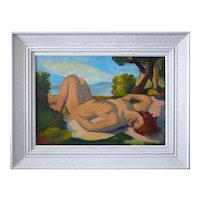 "Charles KVAPIL, Oil on Canvas, ""Naked woman in the sun"", ca.1920"