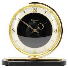 BAYARD French Art Deco Swivelling Table Clock, Black Dial, 1930s