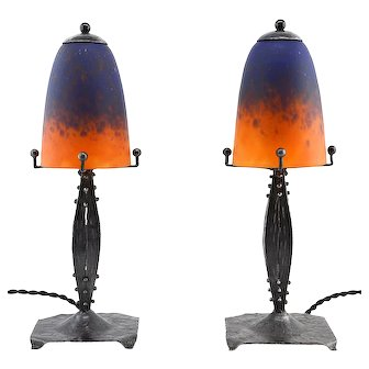 Charles SCHNEIDER French Art Deco Pair of Table Lamps, 1924-1928
