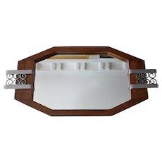 French Art Deco Walnut & Wrought-iron Tray, 1930s