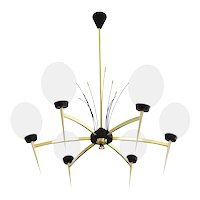 LUNEL Gorgeous French Mid-century Chandelier, 1950s