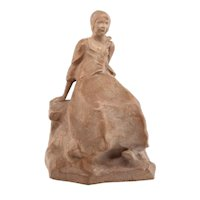 """Ruth Milles French Art Deco Terracotta Statue, """"Suzanne"""" 1927"""