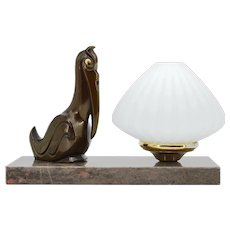 French Art Deco Pelican Table Lamp Night-light, 1930s