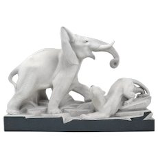 Charles LEMANCEAU French Art Deco Elephant vs Lioness Sculpture, 1930s