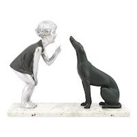 French Art Deco Young Girl & Greyhound Sculpture, 1930s