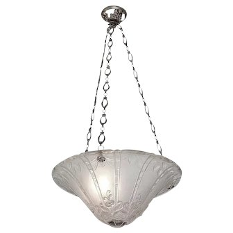 DAUM - D'AVESN French Art Deco Pendant Chandelier early 1930s