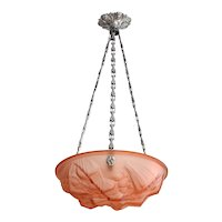 Henry Mouynet French Art Deco Pink Pendant Chandelier, 1920s