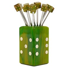 French Midcentury Dice Cocktail Picks, 1930s