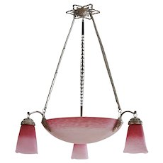 Charles Schneider French Art Deco Pink Chandelier, 1924-1928