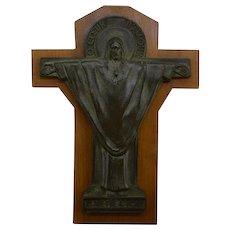French Art Deco Bronze Crucifix by Jeanne Ferrer 1930