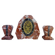 French Art Deco Mantel Clock Set 1925