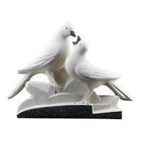 French Art Deco Ceramic Couple of Pigeons at Sainte-Radegonde 1935