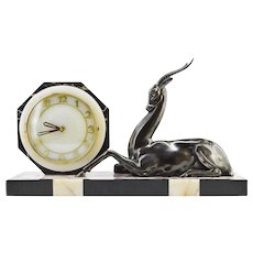 Large French Art Deco Antelope Clock Sculpture 1930s