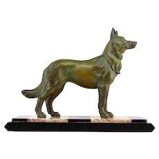 German Shepherd Sculpture by Louis-Albert CARVIN 1930