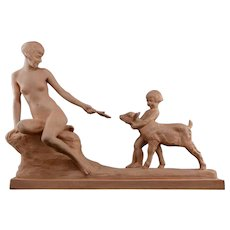 Louis RICHE French Art Deco Woman, child and Kid Terracotta Sculpture