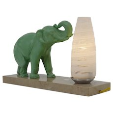 French Art Deco Elephant Table Lamp / Night-Light, 1930s