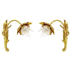 French Art Nouveau Pair of Iris Wall Sconces, Ca. 1900