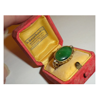 THE BEST 1900's Antique 15K Gold Green JADE & Diamond RING in Old Box