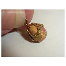 AUTHENTIC Antique FABERGE Gold & Enamel Russian Easter Egg Charm by Michael Perchin
