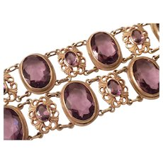 EXCELLENT 1900's Antique Amethyst Crystal & Gold Filled CAT COLLAR Necklace - Red Tag Sale Item