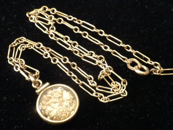 EARLY Vintage RAW Gold Nuggets Pendant Charm NECKLACE on Art Deco Chain