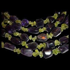 BEAUTIFUL SET of Amethyst & Peridot Beaded Necklace & Bracelet Set - Chinese & Signed