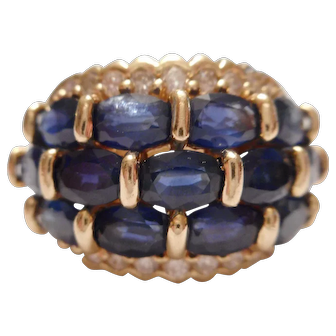 THE BEST Vintage 14kt Gold GENUINE Blue Sapphire & Diamond Cigar Band RING sz 7 - Must See!