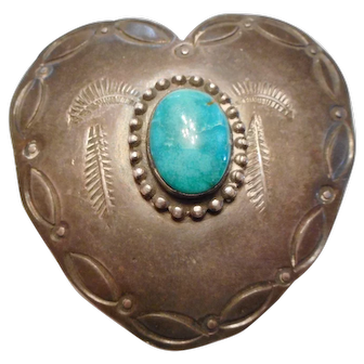 OLD PAWN - Vintage Sterling Silver & Turquoise Native American Indian HEART Brooch PIN