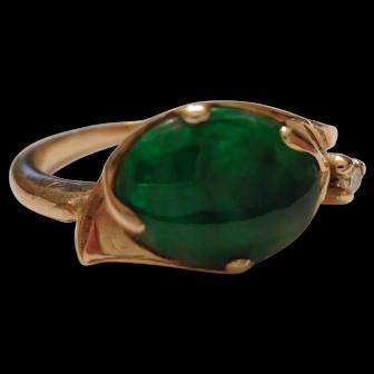 GEM GRADE Vintage Egyptian Eye JADE Diamond & 14kt Gold RING - Imperial