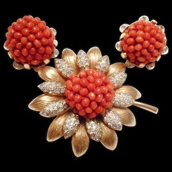 THE BEST 1950s Vintage Italian Coral & Rhinestone Flower Pin & Earrings by Nettie Rosenstein