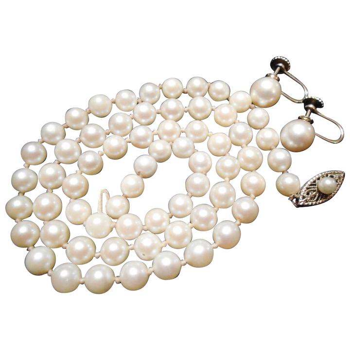 Cultured Pearl Necklace 14kt Gold