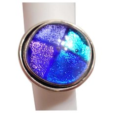 ONE of A KIND Vintage Mexican Sterling Silver & Dichroic ART Glass Ring
