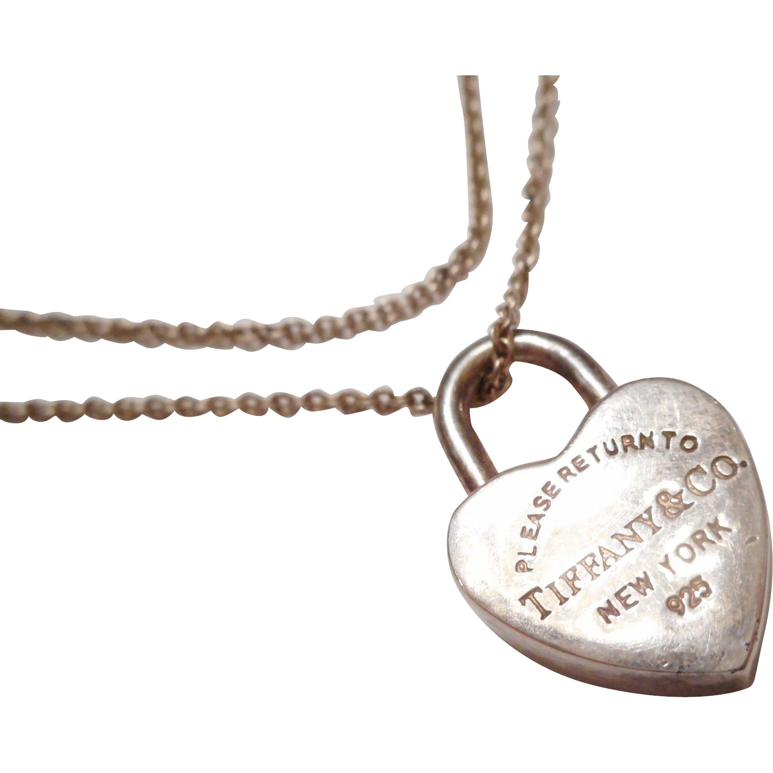 dce83a31b AUTHENTIC Vintage Tiffany & Co. Sterling Silver Heart Padlock Pendant :  Vanity's Antique Studio | Ruby Lane