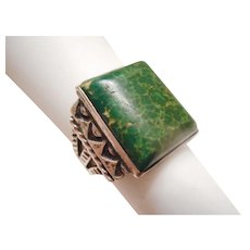 VERY EARLY Vintage Old Pawn Square GREEN Turquoise & Sterling Silver RING