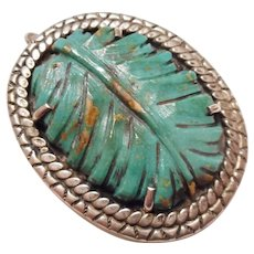 LARGE - Vintage Expired Mine Carved Turquoise Leaf & Sterling Silver Necklace PENDANT