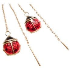 Fantastic 14kt Yellow Gold & ENAMEL Lady Bug Italian Threader EARRINGS