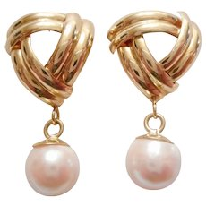 ELEGANT Vintage 14kt Yellow Gold & Cultured Pearl Dangle EARRINGS