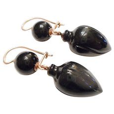 LARGE & Early 1850s Victorian 14kt Gold & JET Black Glass Urn Dangle EARRINGS