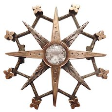 THE COOLEST Antique Mid Victorian 9ct Gold Sterling Silver & Paste Stone STAR PIN
